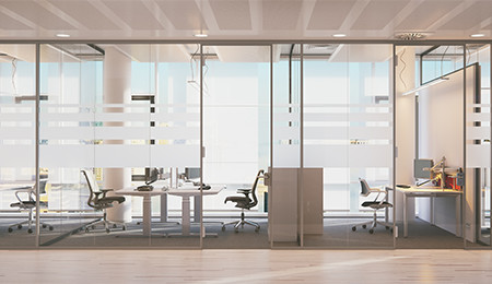 Office space with glass walls for small private rooms