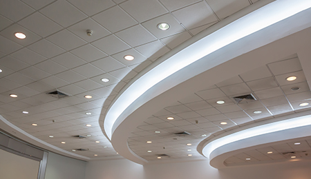 Very cool ceiling lighting to give an office space a great feel