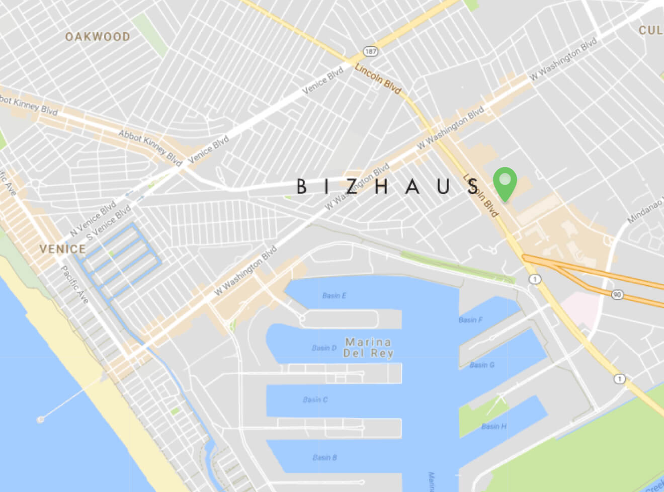 Bizhaus Locations Marina del Rey Map
